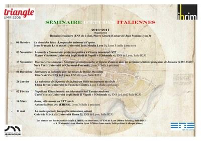 Image - programme du séminaire d'études italiennes